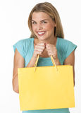 Happy Woman with Shopping Bag Stock Image