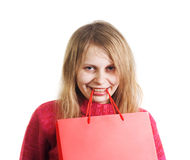 Happy woman with shopping bag Stock Photo