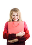 Happy woman with shopping bag Stock Images