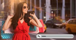 Happy woman with shopping bag Stock Photos