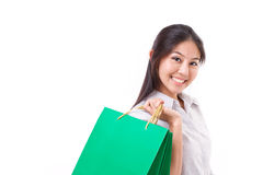 Happy woman with shopping bag Royalty Free Stock Image