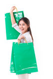 Happy woman with shopping bag Royalty Free Stock Images