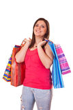 Happy woman with shopping bags Royalty Free Stock Photos