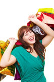 Happy woman with shopping bags Royalty Free Stock Image