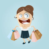 Happy woman with shopping bags. Clipart of a happy woman with shopping bags Royalty Free Stock Photography