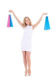 Happy woman with shopping bags isolate Royalty Free Stock Photos
