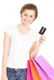 Happy woman with shopping bags Royalty Free Stock Images