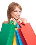 Happy woman shopping with bags smile Royalty Free Stock Photo
