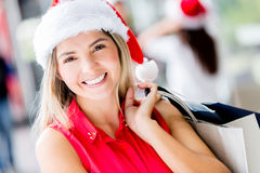 Happy woman Shopping for Christmas Royalty Free Stock Photos