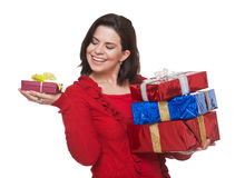 Happy woman shopping for christmas. Royalty Free Stock Photos