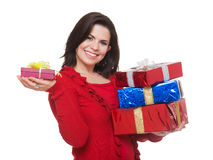 Happy woman shopping for    christmas. Royalty Free Stock Image