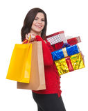 Happy woman shopping for    christmas. Stock Photos