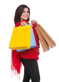 Happy woman shopping for    christmas. Royalty Free Stock Photo