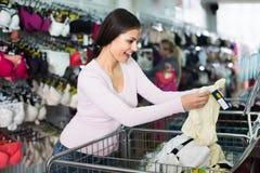 Happy woman shopping comfortable panties Stock Photos