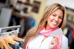 Woman shopping with a credit card Stock Photography
