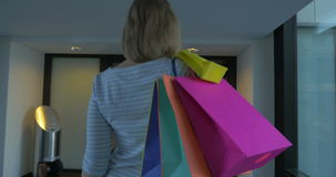 Happy Woman after Shopping stock video