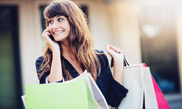 Happy Woman Shopping Stock Photography