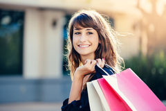 Happy Woman Shopping Royalty Free Stock Images