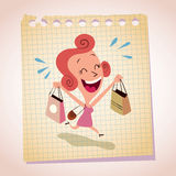 Happy woman shopping note paper cartoon illustration Royalty Free Stock Photos