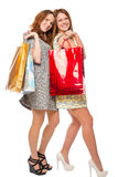 Happy woman after shopping with purchases Stock Photos
