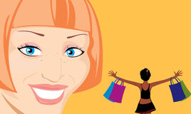Happy woman after shopping Stock Image