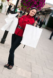 Happy  woman shopping with white bags Stock Photo