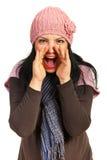 Happy woman shouting Stock Photo