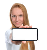 Happy woman show display of mobile cell phone with blank screen Royalty Free Stock Photo