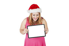 Happy woman showing blank board Royalty Free Stock Photography