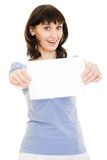 Happy  woman showing blank signboard Stock Photos