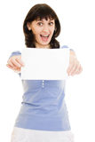 Happy  woman showing blank signboard Royalty Free Stock Images