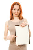 Happy  woman showing blank signboard Stock Image