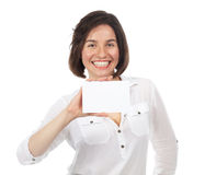 Happy woman showing a blank signboard Stock Photo
