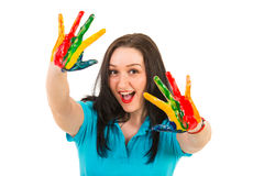 Happy woman showing colorful hands Royalty Free Stock Photography