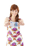 Happy woman showing Euros currency notes Royalty Free Stock Image