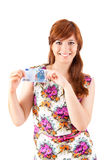 Happy woman showing Euros currency notes Stock Image
