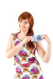 Happy woman showing Euros currency notes Stock Photo