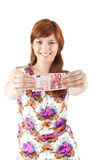 Happy woman showing Euros currency notes Stock Photography