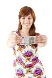 Happy woman showing Euros currency notes Royalty Free Stock Photography