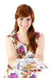 Happy woman showing Euros currency notes Royalty Free Stock Photo