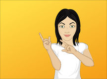 Happy woman showing a gesture with two hands at empty copy space Stock Photo