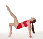 Happy woman showing gymnastic exercise Stock Photography