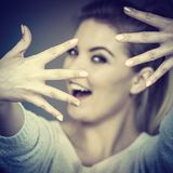 Happy woman showing her hands Stock Photos