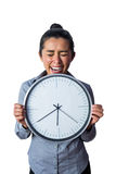 Happy woman showing her large clock Stock Photography