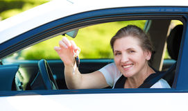 Happy woman showing  hew new car keys Stock Photography