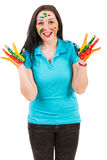 Happy woman showing painted hands Royalty Free Stock Image