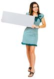 Happy woman showing placard Royalty Free Stock Image