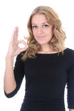 Happy woman showing sign ok Stock Images