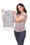 Happy woman showing t-shirt Royalty Free Stock Photo