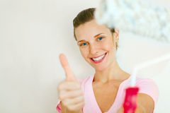 Happy Woman showing thumb up Stock Image